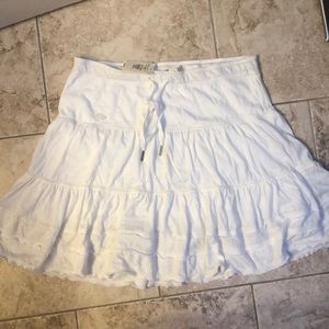 White Abercrombie & Fitch Ruffle Skirt